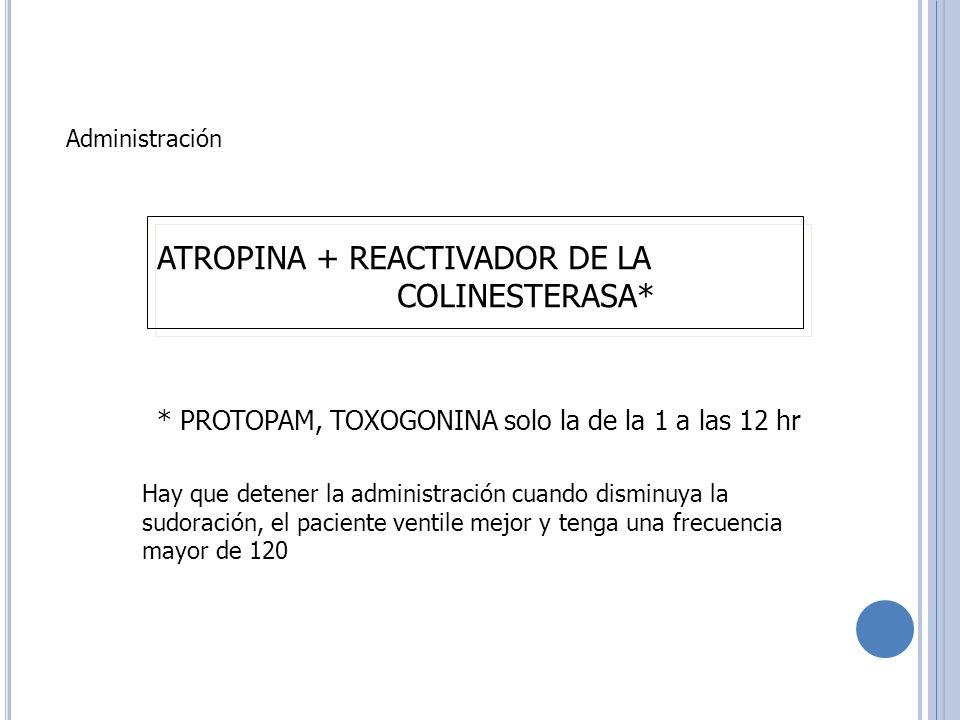 Administración ATROPINA + REACTIVADOR DE LA COLINESTERASA* * PROTOPAM, TOXOGONINA solo la de la 1 a las 12 hr Hay que detener la administración cuando