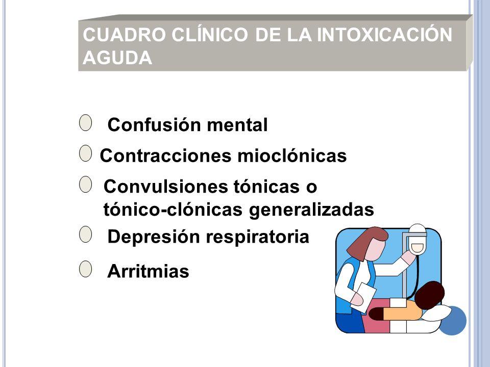 Confusión mental Contracciones mioclónicas Convulsiones tónicas o tónico-clónicas generalizadas Depresión respiratoria Arritmias CUADRO CLÍNICO DE LA