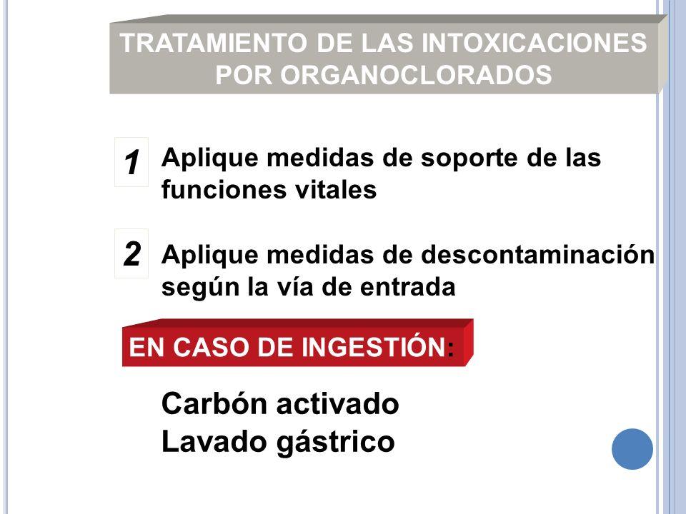 TRATAMIENTO DE LAS INTOXICACIONES POR ORGANOCLORADOS Aplique medidas de soporte de las funciones vitales Aplique medidas de descontaminación según la