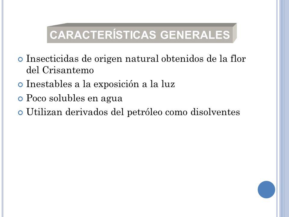 Insecticidas de origen natural obtenidos de la flor del Crisantemo Inestables a la exposición a la luz Poco solubles en agua Utilizan derivados del pe