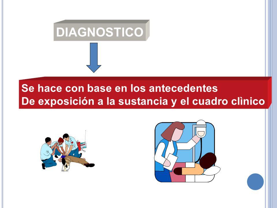 Se hace con base en los antecedentes De exposición a la sustancia y el cuadro clìnico DIAGNOSTICO