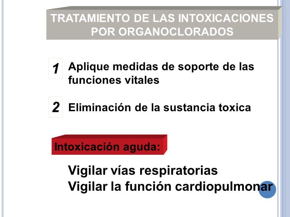 TRATAMIENTO DE LAS INTOXICACIONES POR ORGANOCLORADOS Aplique medidas de soporte de las funciones vitales Eliminación de la sustancia toxica Intoxicaci