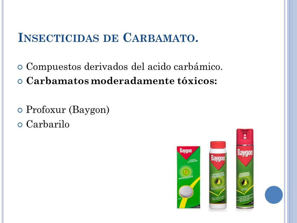 I NSECTICIDAS DE C ARBAMATO. Compuestos derivados del acido carbámico. Carbamatos moderadamente tóxicos: Profoxur (Baygon) Carbarilo