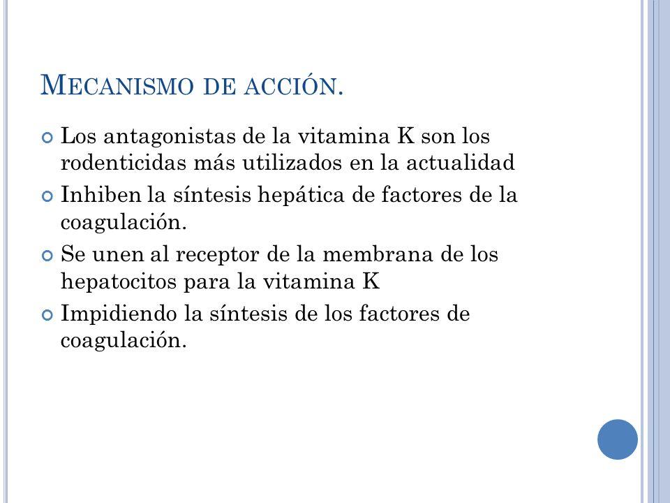 M ECANISMO DE ACCIÓN. Los antagonistas de la vitamina K son los rodenticidas más utilizados en la actualidad Inhiben la síntesis hepática de factores
