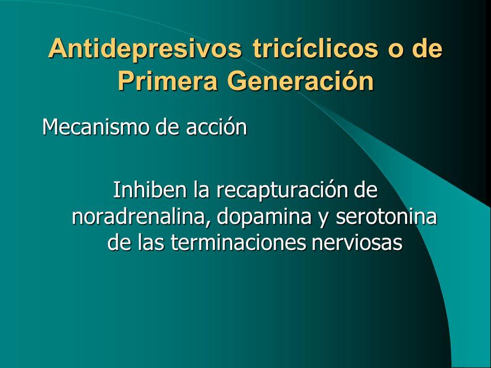 Antidepresivos tricíclicos o de Primera Generación Mecanismo de acción Inhiben la recapturación de noradrenalina, dopamina y serotonina de las termina