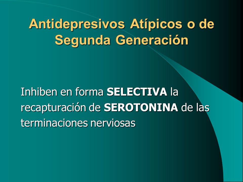 Antidepresivos Atípicos o de Segunda Generación Inhiben en forma SELECTIVA la recapturación de SEROTONINA de las terminaciones nerviosas