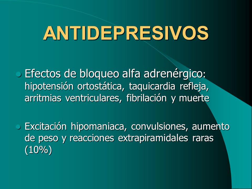 ANTIDEPRESIVOS Efectos de bloqueo alfa adrenérgico : hipotensión ortostática, taquicardia refleja, arritmias ventriculares, fibrilación y muerte Efect