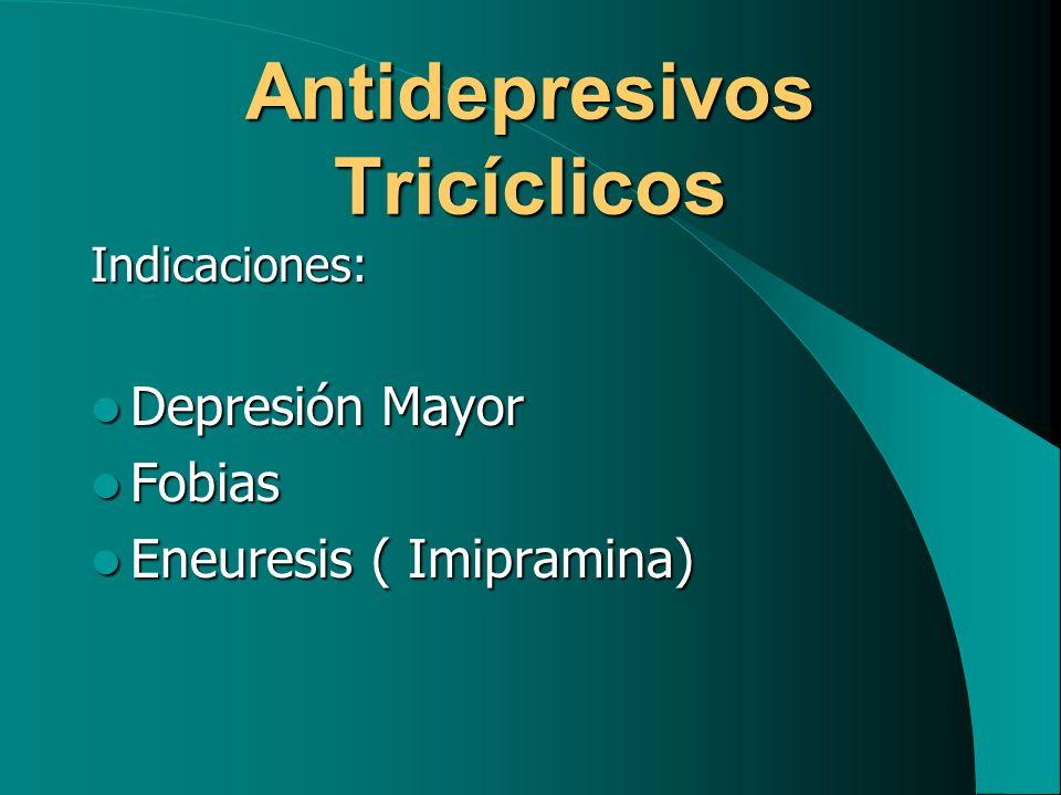 Antidepresivos Tricíclicos Indicaciones: Depresión Mayor Depresión Mayor Fobias Fobias Eneuresis ( Imipramina) Eneuresis ( Imipramina)