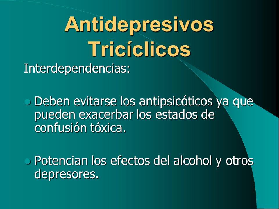Antidepresivos Tricíclicos Interdependencias: Deben evitarse los antipsicóticos ya que pueden exacerbar los estados de confusión tóxica. Deben evitars