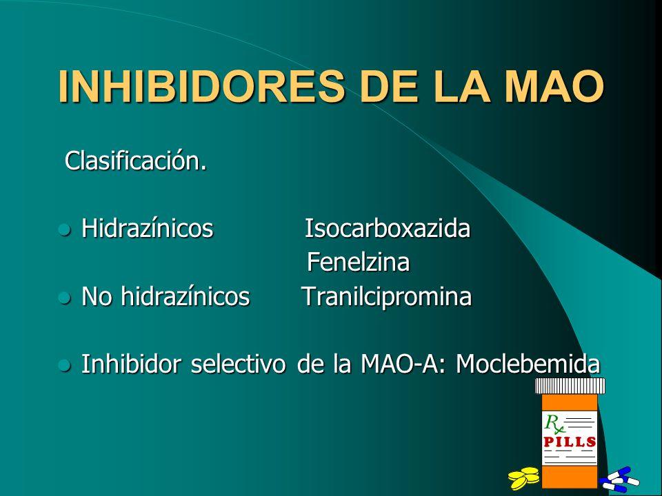 INHIBIDORES DE LA MAO Clasificación. Clasificación. Hidrazínicos Isocarboxazida Hidrazínicos Isocarboxazida Fenelzina Fenelzina No hidrazínicos Tranil
