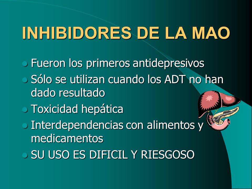 INHIBIDORES DE LA MAO Fueron los primeros antidepresivos Fueron los primeros antidepresivos Sólo se utilizan cuando los ADT no han dado resultado Sólo