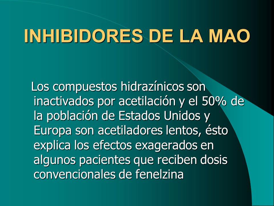 INHIBIDORES DE LA MAO Los compuestos hidrazínicos son inactivados por acetilación y el 50% de la población de Estados Unidos y Europa son acetiladores