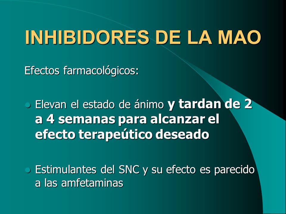 INHIBIDORES DE LA MAO Efectos farmacológicos: Elevan el estado de ánimo y tardan de 2 a 4 semanas para alcanzar el efecto terapeútico deseado Elevan e