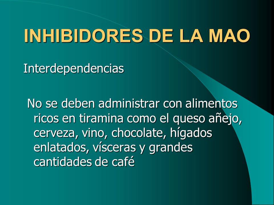 INHIBIDORES DE LA MAO Interdependencias No se deben administrar con alimentos ricos en tiramina como el queso añejo, cerveza, vino, chocolate, hígados