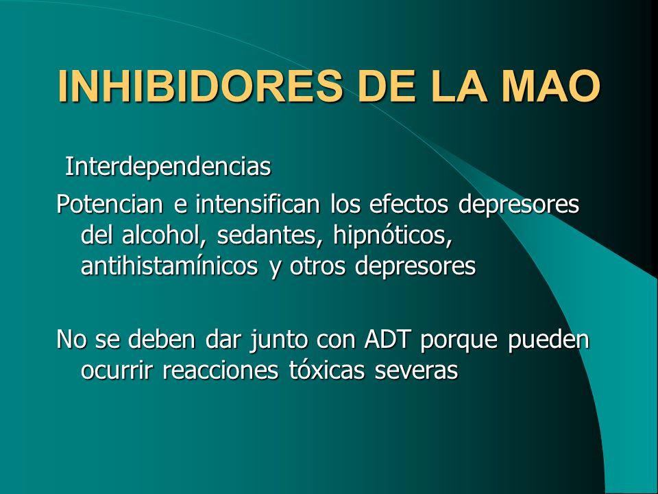 INHIBIDORES DE LA MAO Interdependencias Interdependencias Potencian e intensifican los efectos depresores del alcohol, sedantes, hipnóticos, antihista