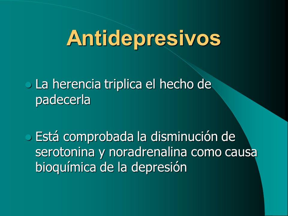 Antidepresivos La herencia triplica el hecho de padecerla La herencia triplica el hecho de padecerla Está comprobada la disminución de serotonina y no