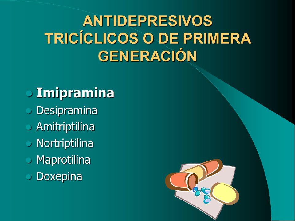 ANTIDEPRESIVOS TRICÍCLICOS O DE PRIMERA GENERACIÓN Imipramina Imipramina Desipramina Desipramina Amitriptilina Amitriptilina Nortriptilina Nortriptili