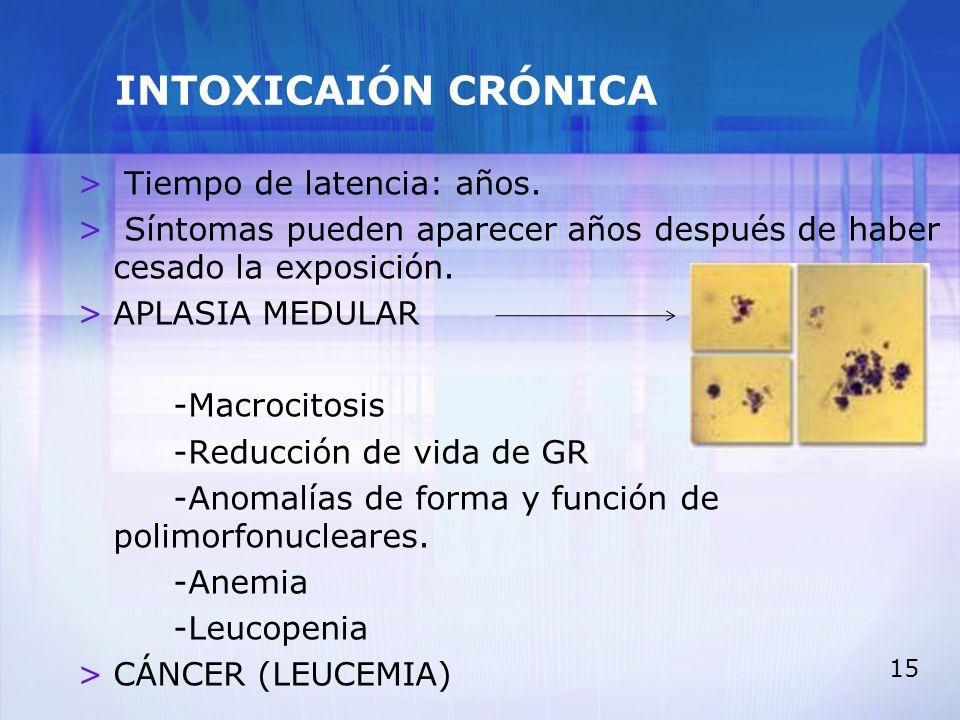 15 INTOXICAIÓN CRÓNICA > Tiempo de latencia: años. > Síntomas pueden aparecer años después de haber cesado la exposición. >APLASIA MEDULAR -Macrocitos