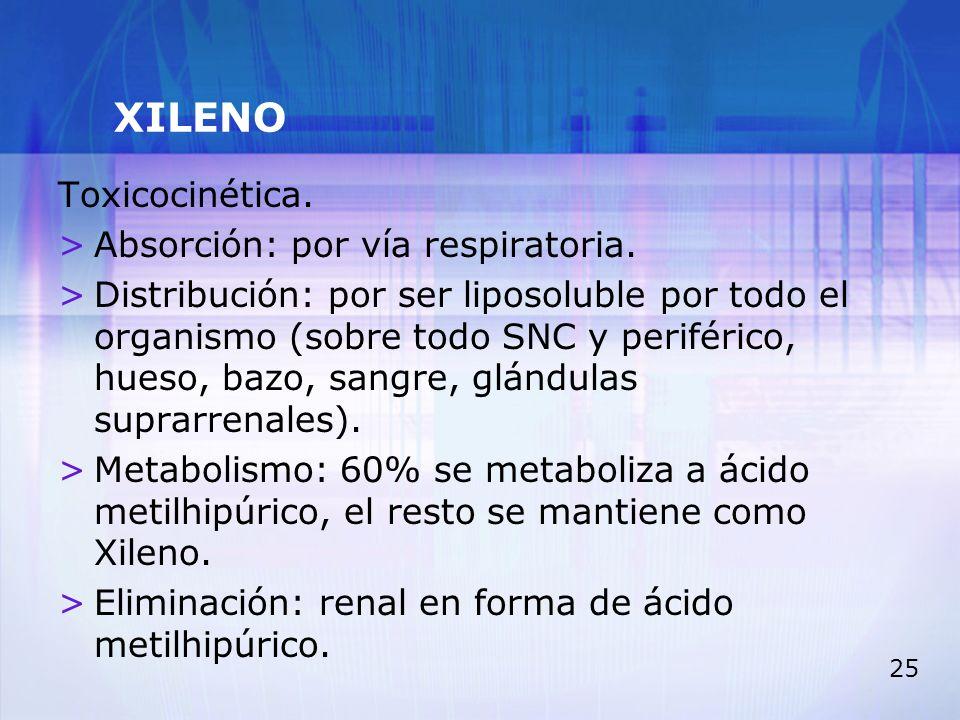 25 XILENO Toxicocinética. >Absorción: por vía respiratoria. >Distribución: por ser liposoluble por todo el organismo (sobre todo SNC y periférico, hue