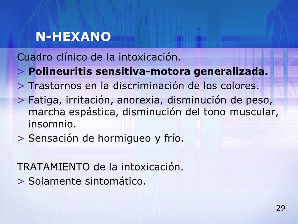 29 N-HEXANO Cuadro clínico de la intoxicación. >Polineuritis sensitiva-motora generalizada. >Trastornos en la discriminación de los colores. >Fatiga,