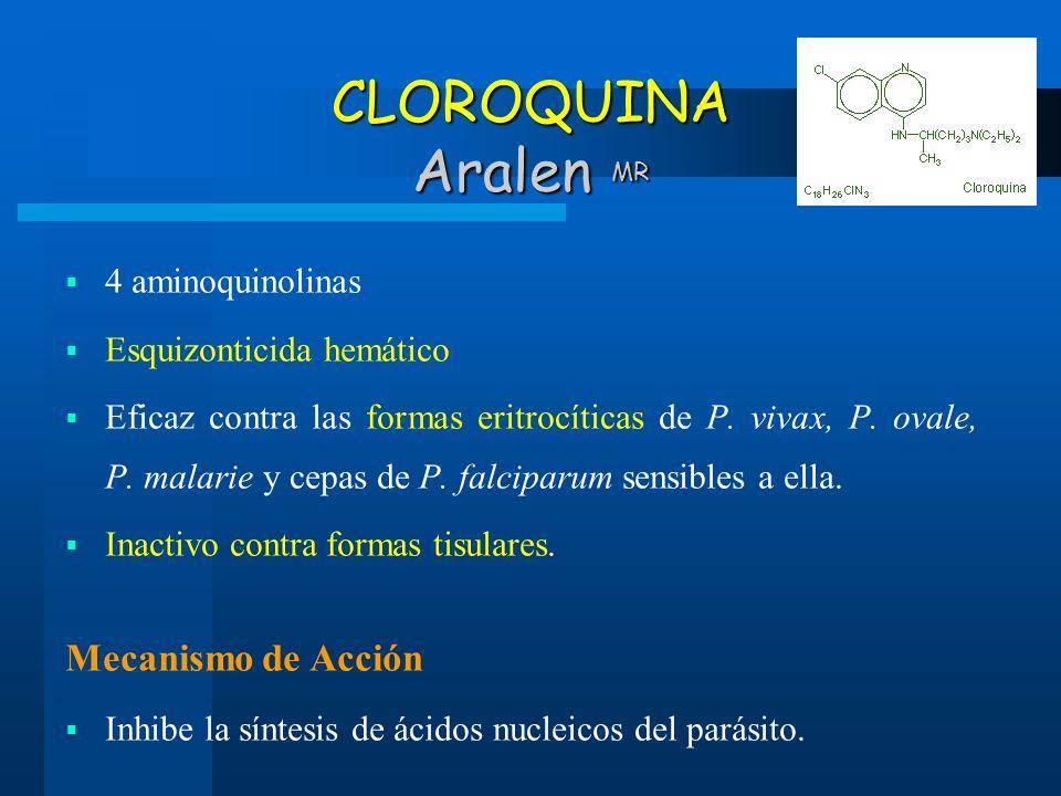 CLOROQUINA Aralen MR 4 aminoquinolinas Esquizonticida hemático Eficaz contra las formas eritrocíticas de P. vivax, P. ovale, P. malarie y cepas de P.