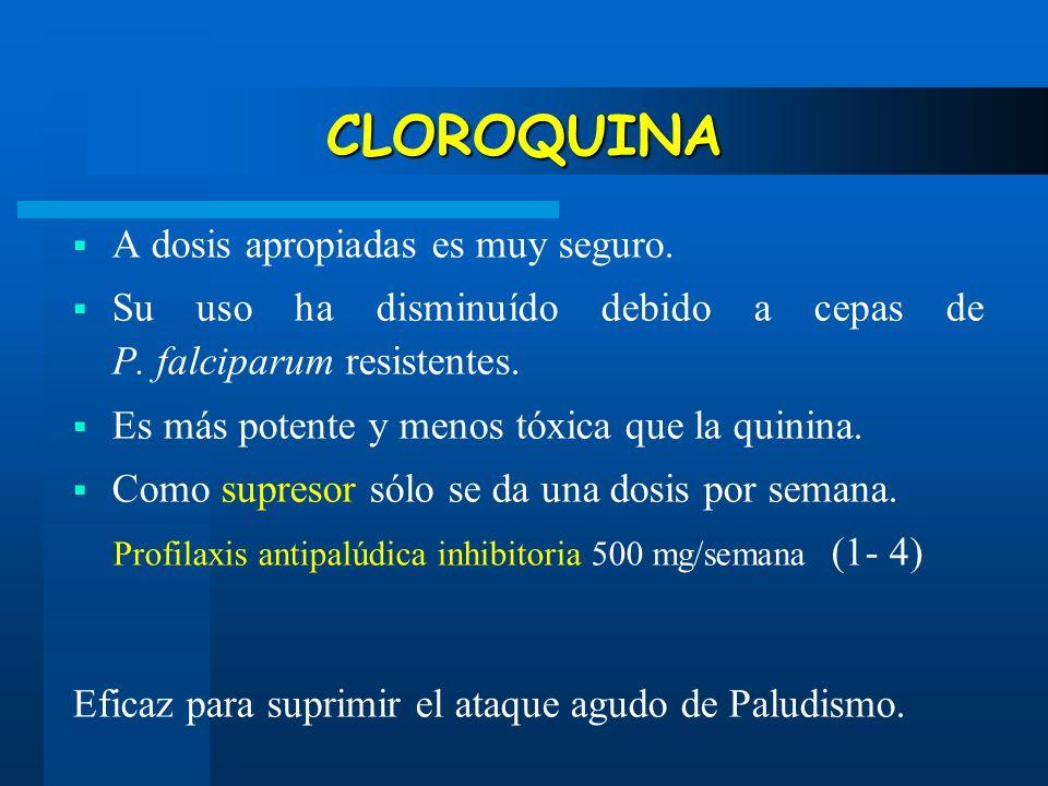 CLOROQUINA A dosis apropiadas es muy seguro. Su uso ha disminuído debido a cepas de P. falciparum resistentes. Es más potente y menos tóxica que la qu