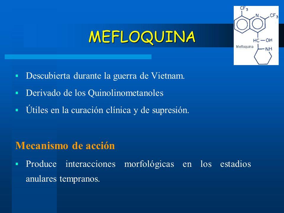 MEFLOQUINA Descubierta durante la guerra de Vietnam. Derivado de los Quinolinometanoles Útiles en la curación clínica y de supresión. Mecanismo de acc