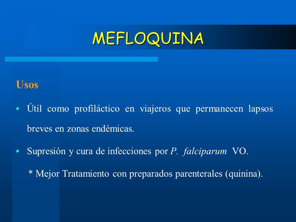MEFLOQUINA Usos Útil como profiláctico en viajeros que permanecen lapsos breves en zonas endémicas. Supresión y cura de infecciones por P. falciparum