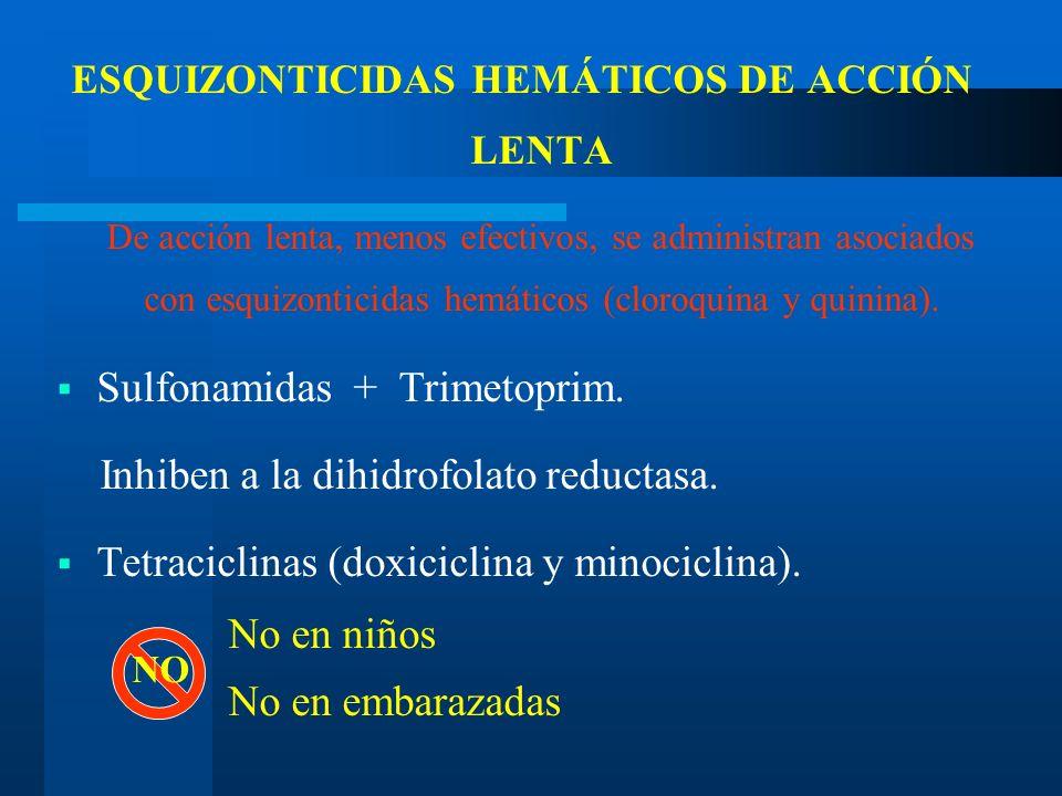 ESQUIZONTICIDAS HEMÁTICOS DE ACCIÓN LENTA De acción lenta, menos efectivos, se administran asociados con esquizonticidas hemáticos (cloroquina y quini