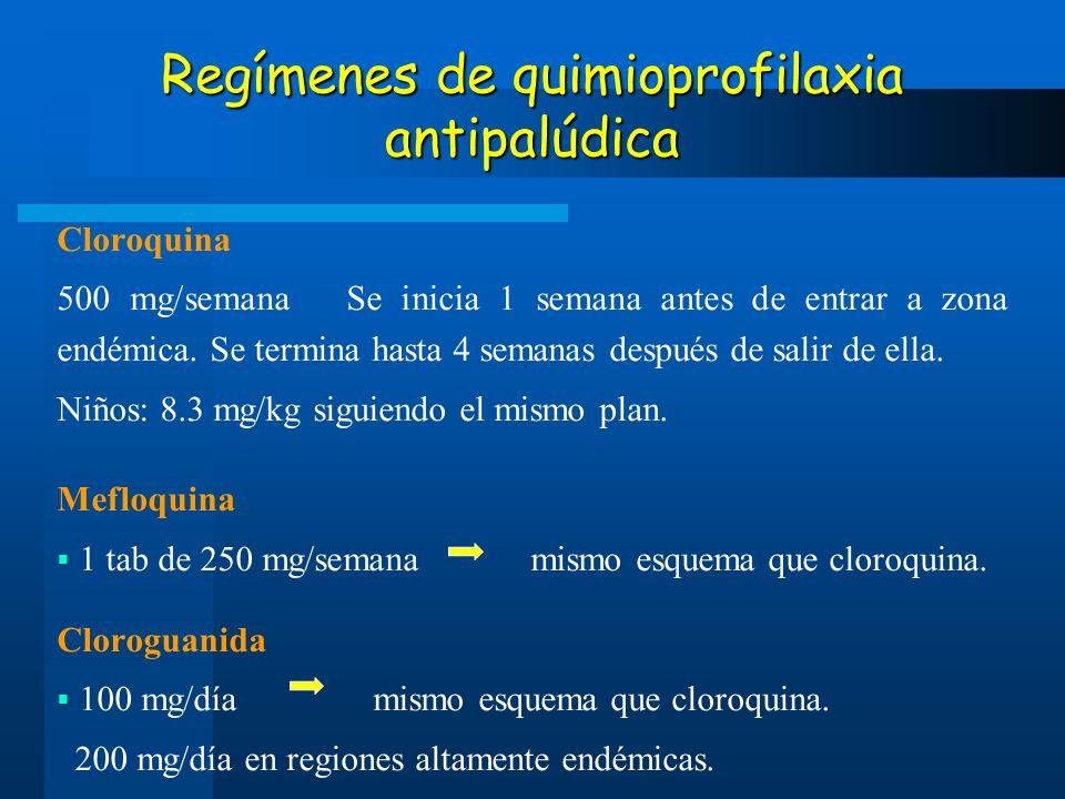 Regímenes de quimioprofilaxia antipalúdica Cloroquina 500 mg/semana Se inicia 1 semana antes de entrar a zona endémica. Se termina hasta 4 semanas des