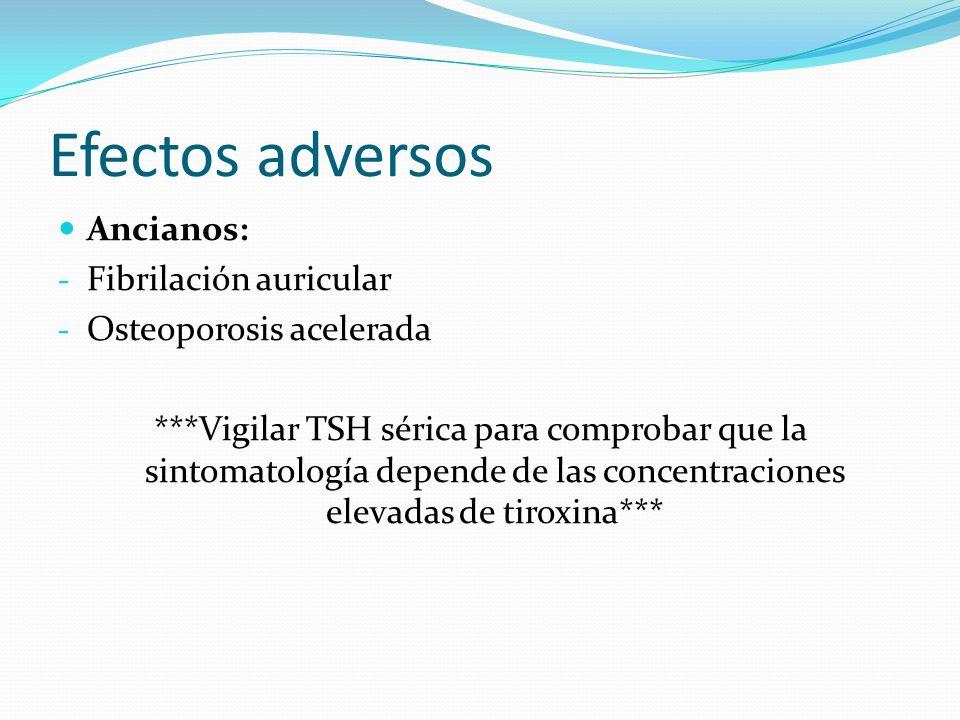 Efectos adversos Ancianos: - Fibrilación auricular - Osteoporosis acelerada ***Vigilar TSH sérica para comprobar que la sintomatología depende de las concentraciones elevadas de tiroxina***