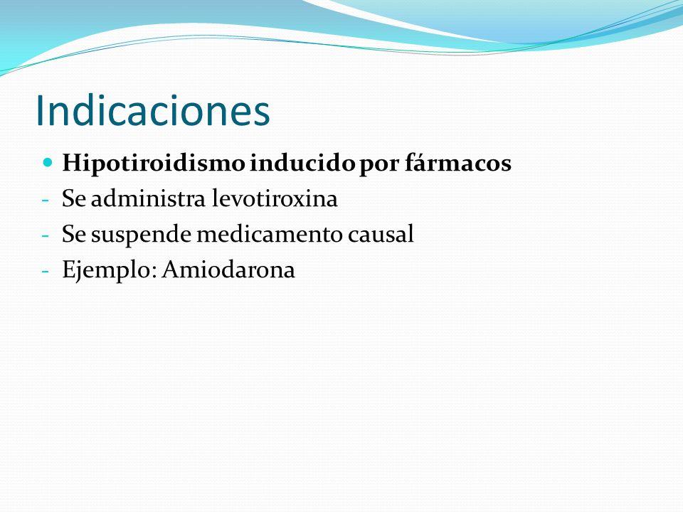Indicaciones Hipotiroidismo inducido por fármacos - Se administra levotiroxina - Se suspende medicamento causal - Ejemplo: Amiodarona
