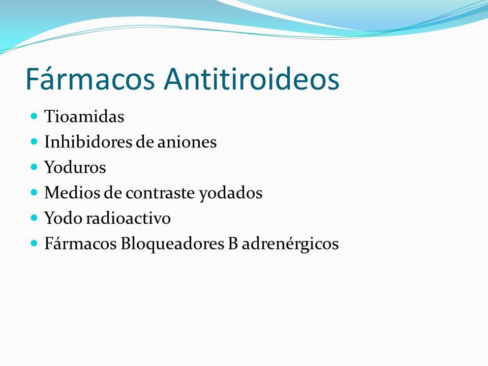 Fármacos Antitiroideos Tioamidas Inhibidores de aniones Yoduros Medios de contraste yodados Yodo radioactivo Fármacos Bloqueadores B adrenérgicos