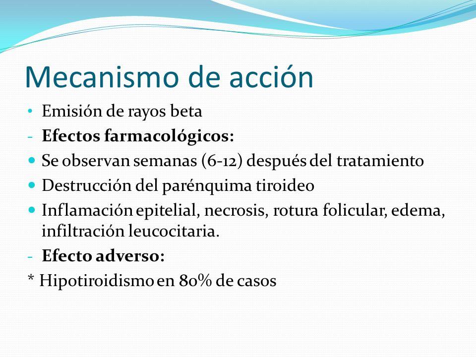 Mecanismo de acción Emisión de rayos beta - Efectos farmacológicos: Se observan semanas (6-12) después del tratamiento Destrucción del parénquima tiroideo Inflamación epitelial, necrosis, rotura folicular, edema, infiltración leucocitaria.