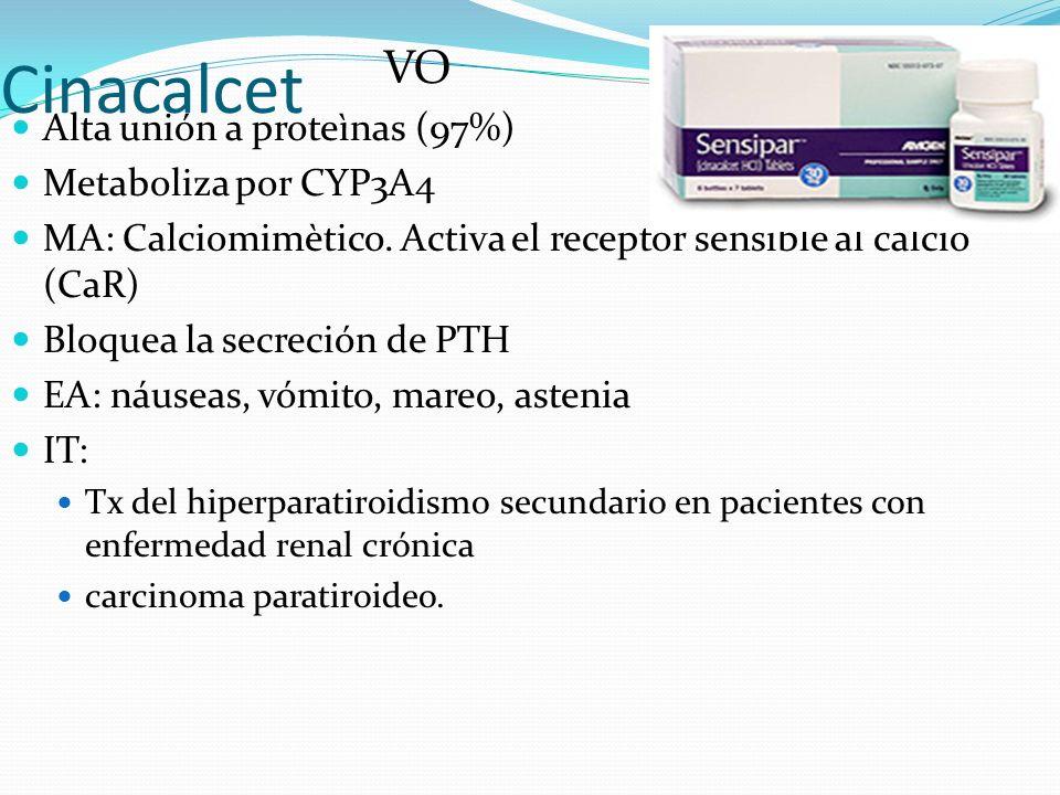 Cinacalcet Alta unión a proteìnas (97%) Metaboliza por CYP3A4 MA: Calciomimètico.