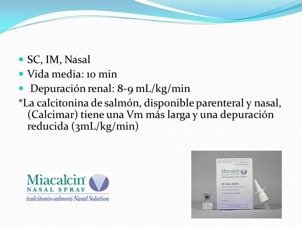SC, IM, Nasal Vida media: 10 min Depuración renal: 8-9 mL/kg/min *La calcitonina de salmón, disponible parenteral y nasal, (Calcimar) tiene una Vm más larga y una depuración reducida (3mL/kg/min)
