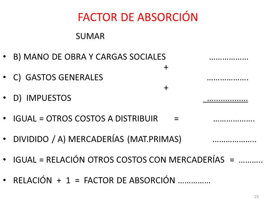 FACTOR DE ABSORCIÓN SUMAR B) MANO DE OBRA Y CARGAS SOCIALES ……………… + C) GASTOS GENERALES ………………. + D) IMPUESTOS …............... IGUAL = OTROS COSTOS