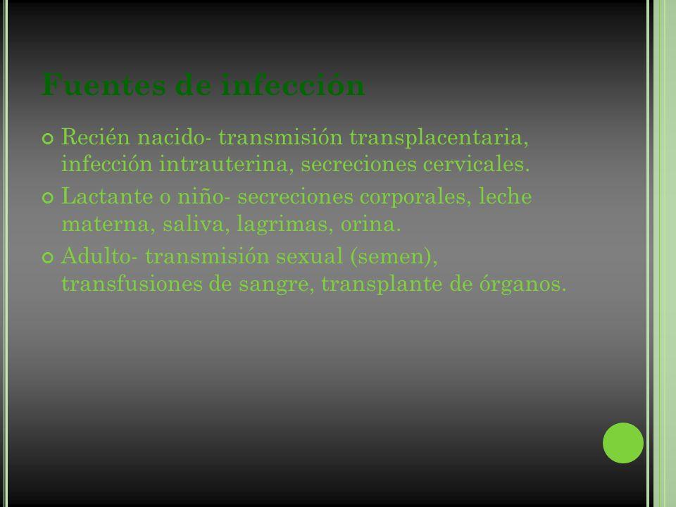 Fuentes de infección Recién nacido- transmisión transplacentaria, infección intrauterina, secreciones cervicales. Lactante o niño- secreciones corpora
