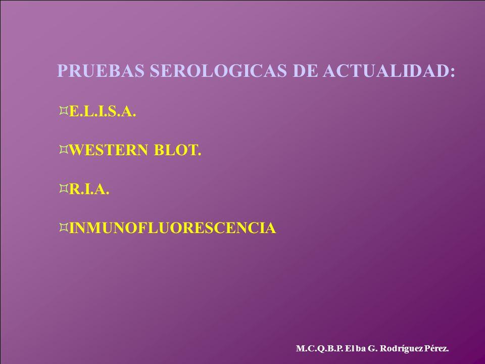 M.C.Q.B.P. El ba G. Rodríguez Pérez. PRUEBAS SEROLOGICAS DE ACTUALIDAD: E.L.I.S.A. WESTERN BLOT. R.I.A. INMUNOFLUORESCENCIA