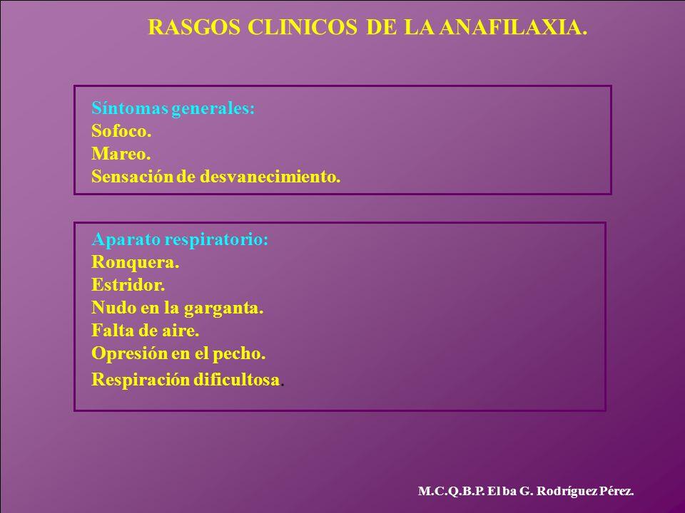 M.C.Q.B.P. El ba G. Rodríguez Pérez. RASGOS CLINICOS DE LA ANAFILAXIA. Síntomas generales: Sofoco. Mareo. Sensación de desvanecimiento. Aparato respir