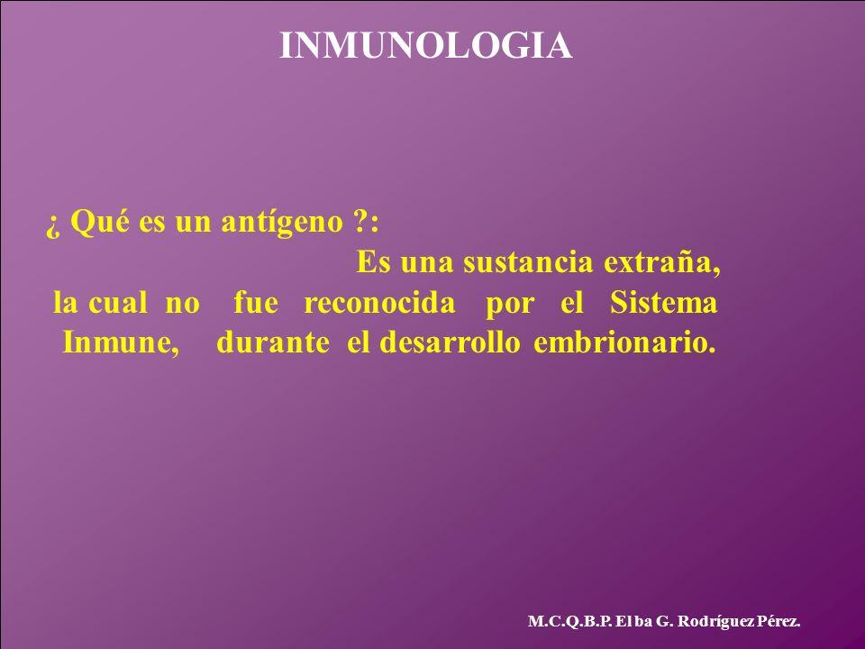 INMUNOLOGIA M.C.Q.B.P. El ba G. Rodríguez Pérez. ¿ Qué es un antígeno ?: Es una sustancia extraña, la cual no fue reconocida por el Sistema Inmune, du