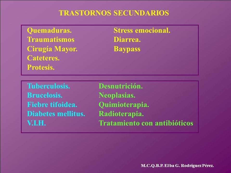 TRASTORNOS SECUNDARIOS M.C.Q.B.P. El ba G. Rodríguez Pérez. Quemaduras. Traumatismos Cirugía Mayor. Cateteres. Protesis. Stress emocional. Diarrea. Ba