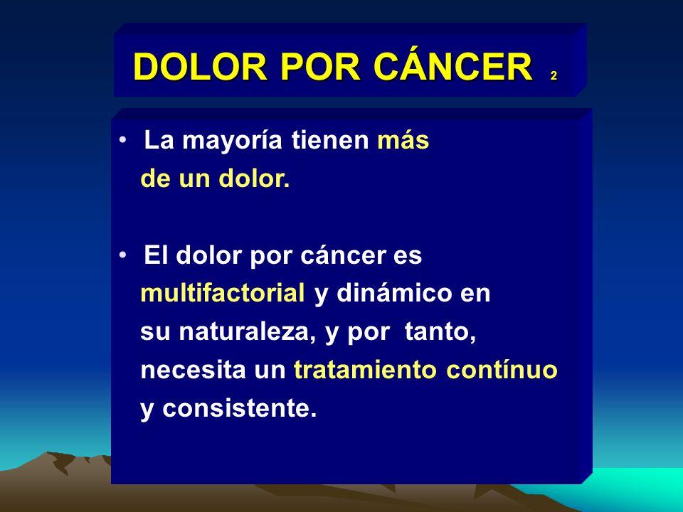 DOLOR POR CÁNCER 2 La mayoría tienen más de un dolor. El dolor por cáncer es multifactorial y dinámico en su naturaleza, y por tanto, necesita un trat