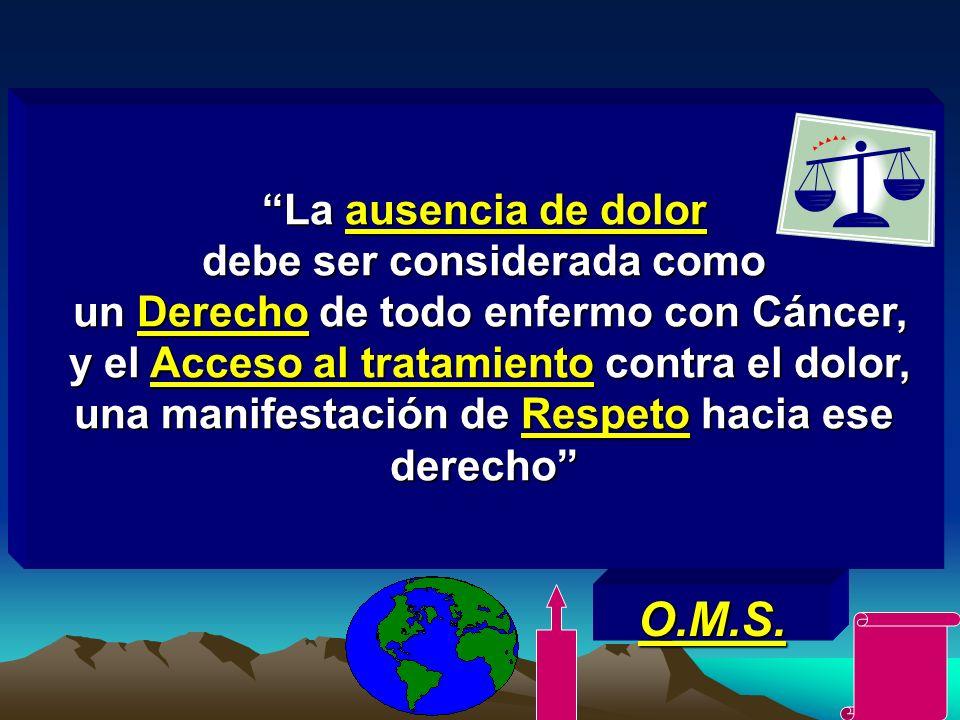 La ausencia de dolor debe ser considerada como un Derecho de todo enfermo con Cáncer, y el Acceso al tratamiento contra el dolor, una manifestación de