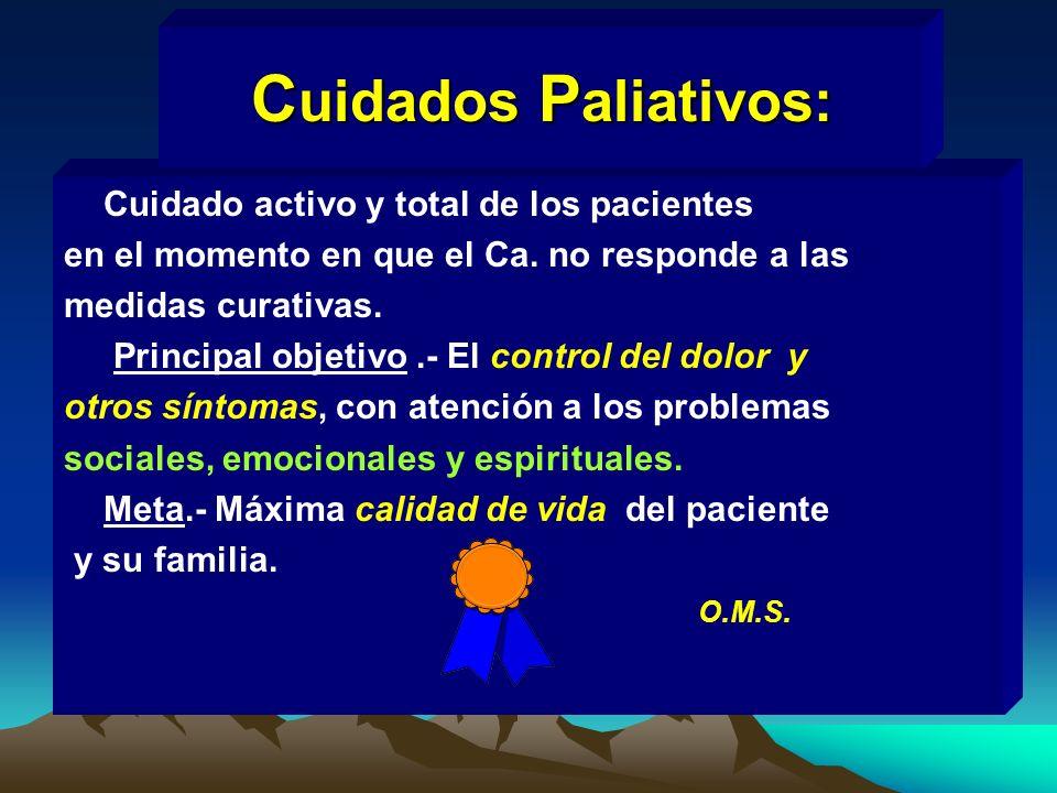 Cuidado activo y total de los pacientes en el momento en que el Ca. no responde a las medidas curativas. Principal objetivo.- El control del dolor y o