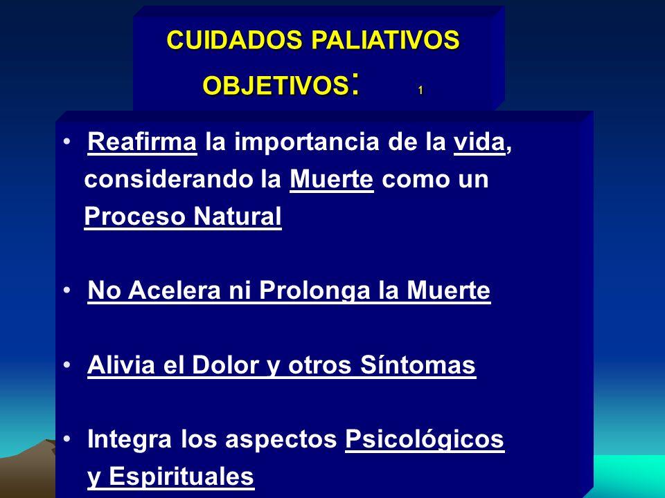 CUIDADOS PALIATIVOS OBJETIVOS : 1 Reafirma la importancia de la vida, considerando la Muerte como un Proceso Natural No Acelera ni Prolonga la Muerte