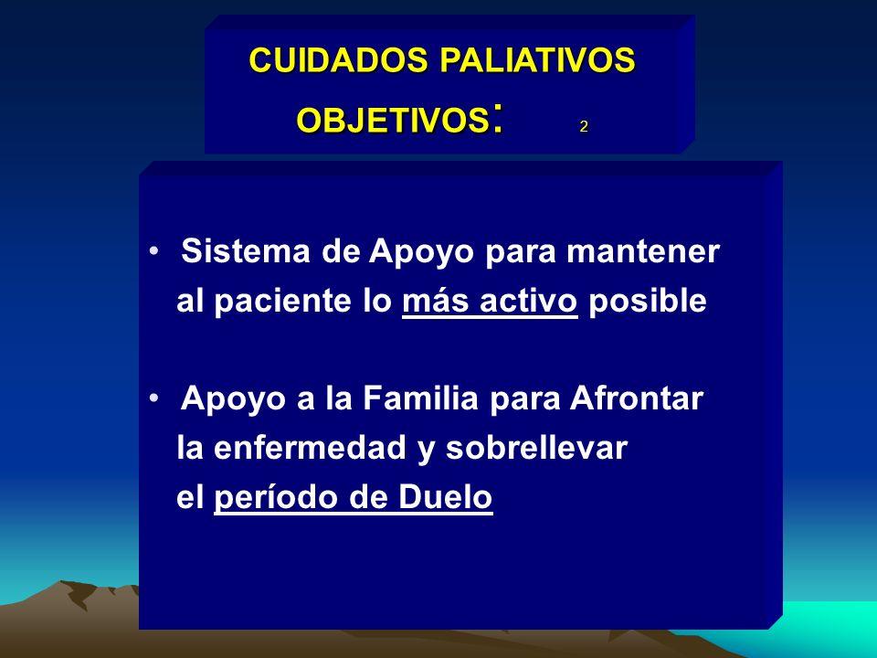 CUIDADOS PALIATIVOS OBJETIVOS : 2 Sistema de Apoyo para mantener al paciente lo más activo posible Apoyo a la Familia para Afrontar la enfermedad y so