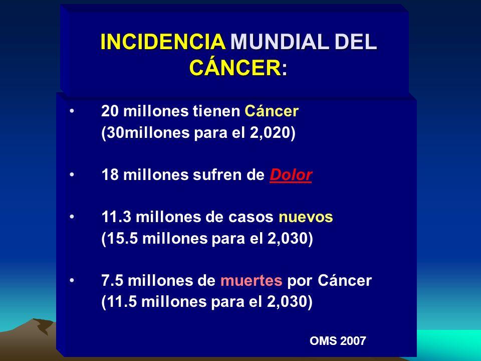 20 millones tienen Cáncer (30millones para el 2,020) 18 millones sufren de Dolor 11.3 millones de casos nuevos (15.5 millones para el 2,030) 7.5 millo