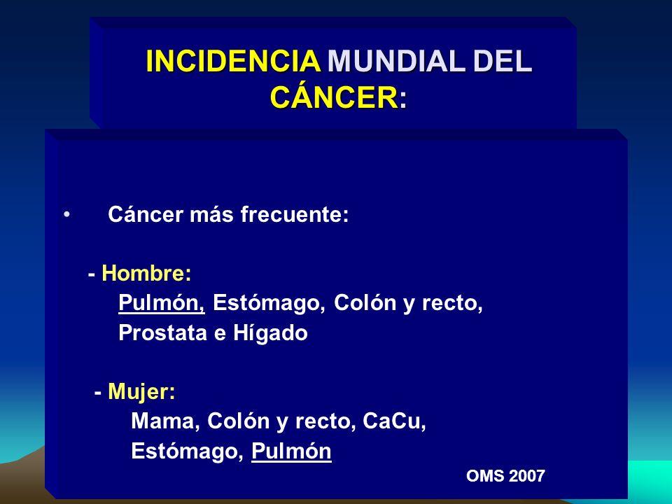 Cáncer más frecuente: - Hombre: Pulmón, Estómago, Colón y recto, Prostata e Hígado - Mujer: Mama, Colón y recto, CaCu, Estómago, Pulmón OMS 2007 INCID