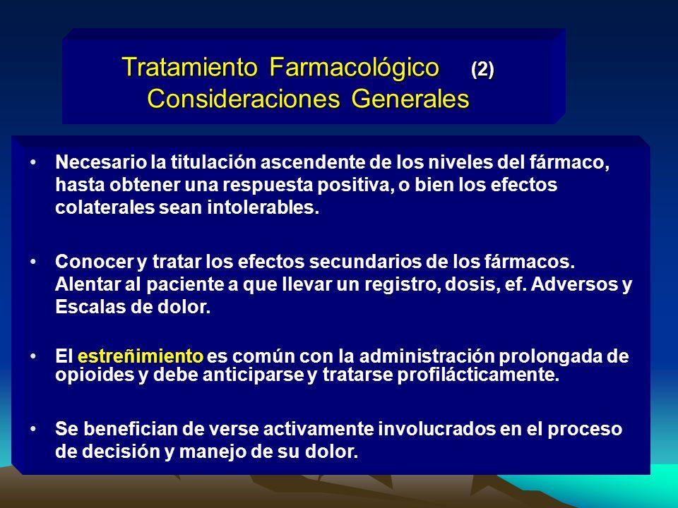 Tratamiento Farmacológico (2) Consideraciones Generales Necesario la titulación ascendente de los niveles del fármaco, hasta obtener una respuesta pos